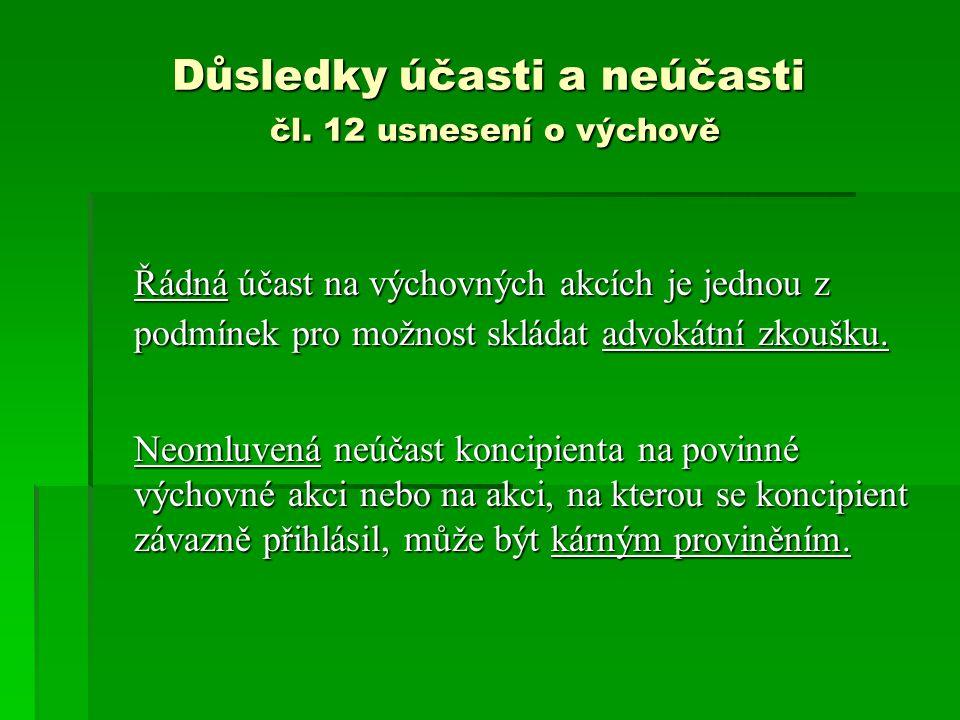 Důsledky účasti a neúčasti čl.