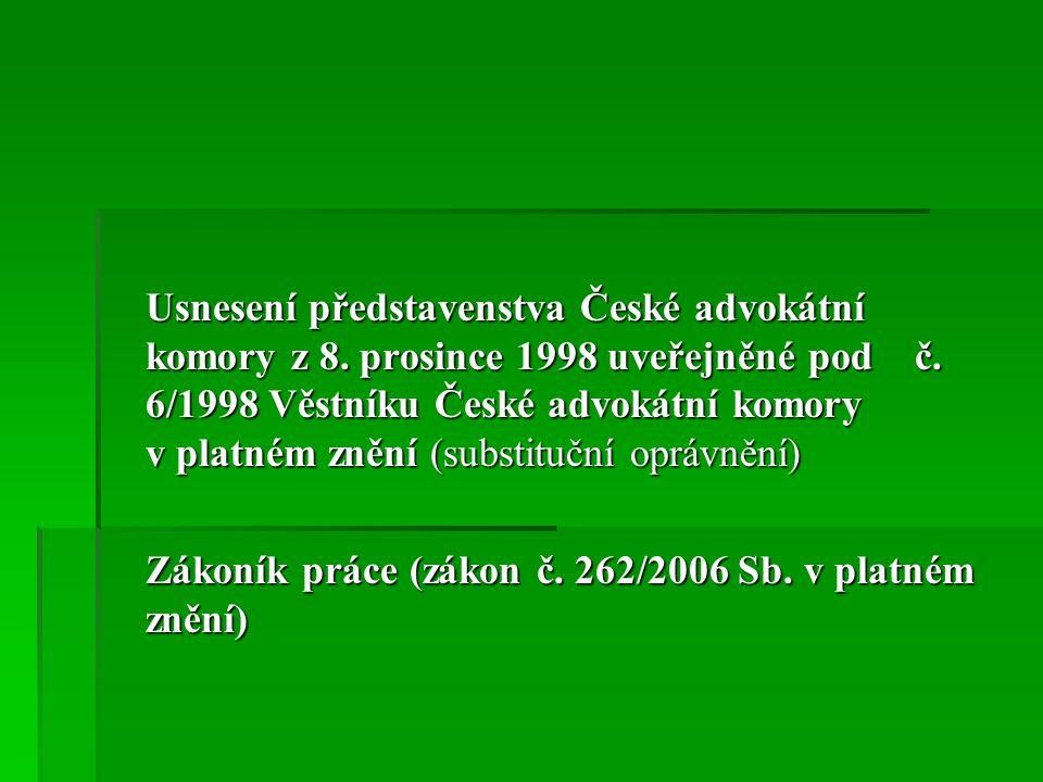 Usnesení představenstva České advokátní komory z 8.