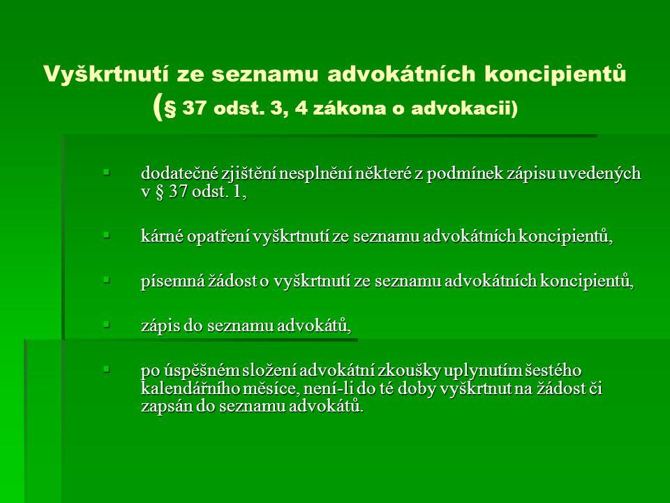 Vyškrtnutí ze seznamu advokátních koncipientů ( § 37 odst.