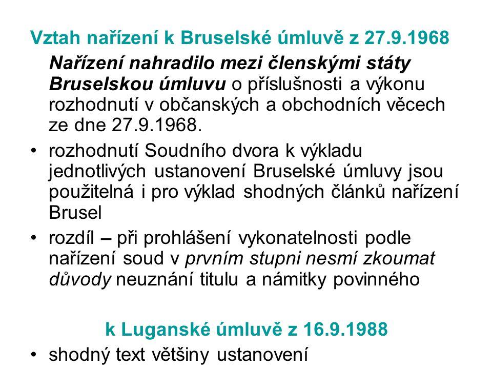 Vztah nařízení k Bruselské úmluvě z 27.9.1968 Nařízení nahradilo mezi členskými státy Bruselskou úmluvu o příslušnosti a výkonu rozhodnutí v občanskýc