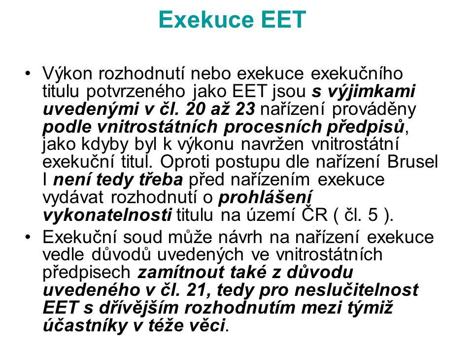 Exekuce EET Výkon rozhodnutí nebo exekuce exekučního titulu potvrzeného jako EET jsou s výjimkami uvedenými v čl. 20 až 23 nařízení prováděny podle vn