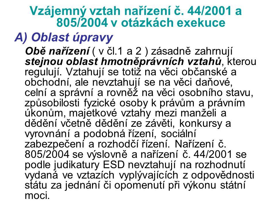 Vzájemný vztah nařízení č. 44/2001 a 805/2004 v otázkách exekuce A) Oblast úpravy Obě nařízení ( v čl.1 a 2 ) zásadně zahrnují stejnou oblast hmotněpr