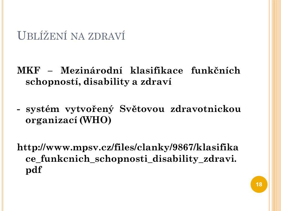 U BLÍŽENÍ NA ZDRAVÍ MKF – Mezinárodní klasifikace funkčních schopností, disability a zdraví - systém vytvořený Světovou zdravotnickou organizací (WHO)