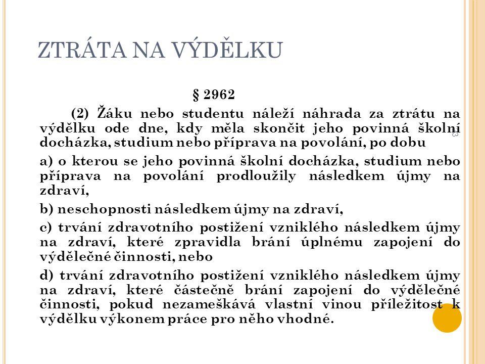 ZTRÁTA NA VÝDĚLKU 23 § 2962 (2) Žáku nebo studentu náleží náhrada za ztrátu na výdělku ode dne, kdy měla skončit jeho povinná školní docházka, studium