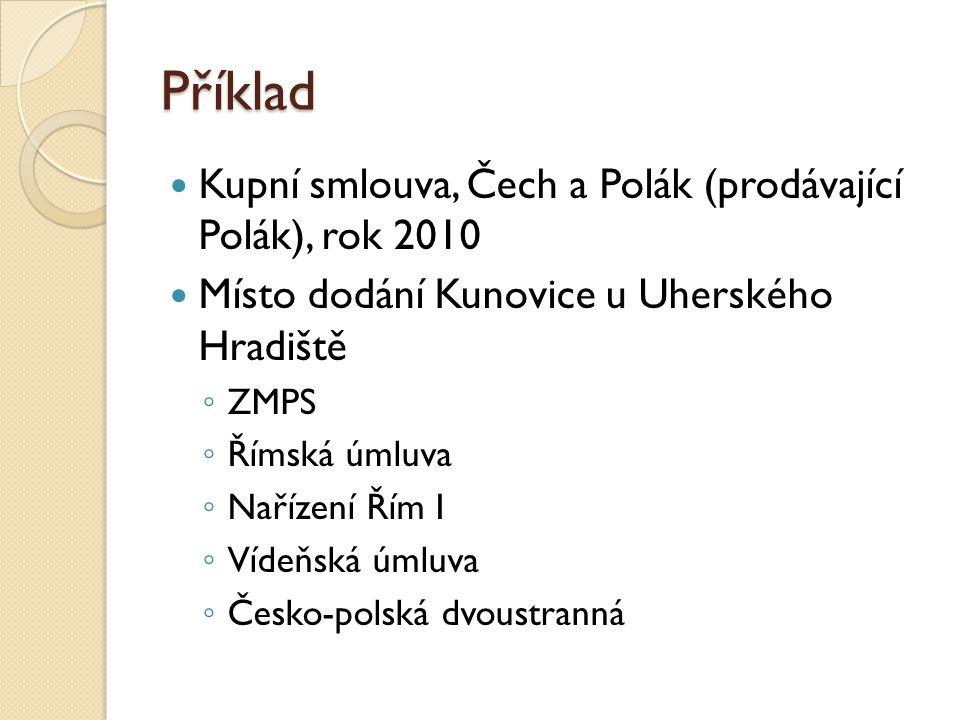 Příklad Kupní smlouva, Čech a Polák (prodávající Polák), rok 2010 Místo dodání Kunovice u Uherského Hradiště ◦ ZMPS ◦ Římská úmluva ◦ Nařízení Řím I ◦