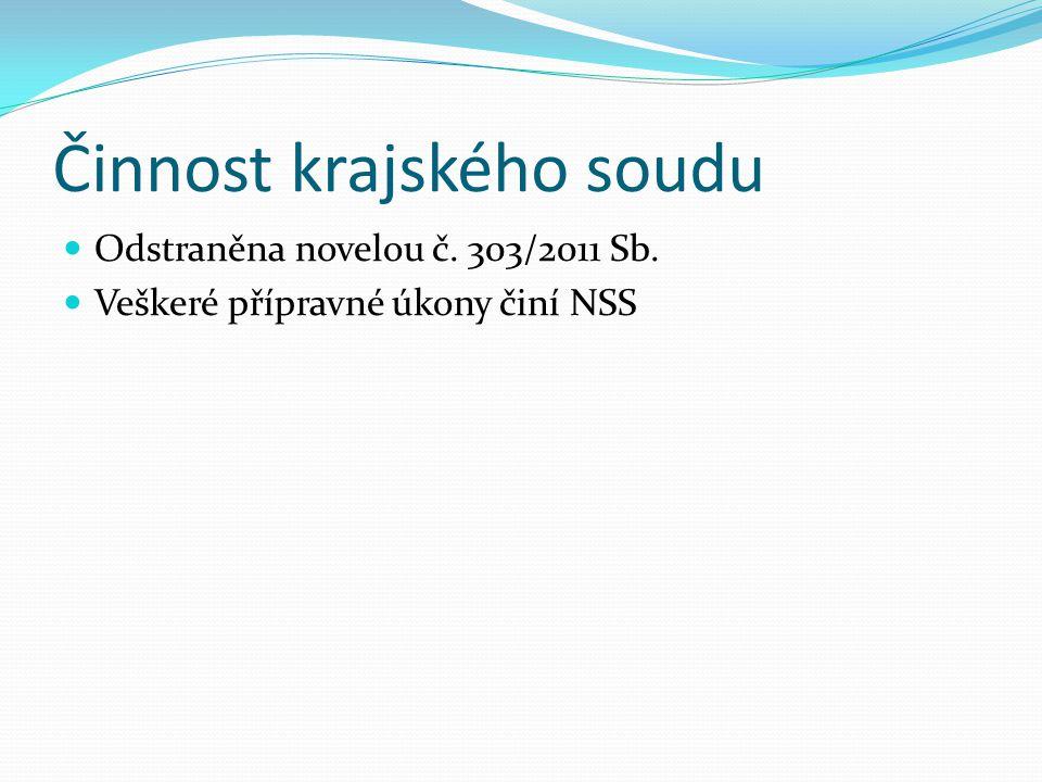 Činnost krajského soudu Odstraněna novelou č. 303/2011 Sb. Veškeré přípravné úkony činí NSS