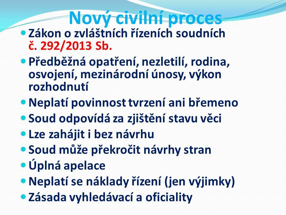 Nový civilní proces Zákon o zvláštních řízeních soudních č. 292/2013 Sb. Předběžná opatření, nezletilí, rodina, osvojení, mezinárodní únosy, výkon roz