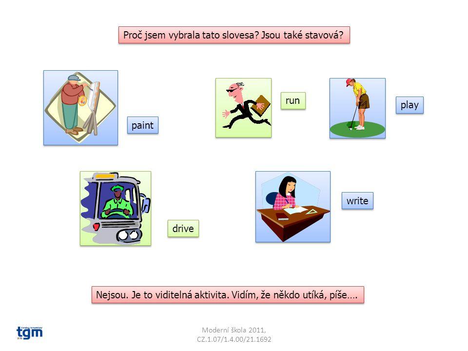 Moderní škola 2011, CZ.1.07/1.4.00/21.1692 Musíme se tuto skupinu sloves učit zpaměti? Ne, neboj se, nemusíme. STAVOVÁ SLOVESA poznáme snadno tak, že