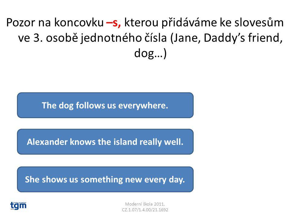 Pozor na koncovku –s, kterou přidáváme ke slovesům ve 3. osobě jednotného čísla (Jane, Daddy's friend, dog…) Moderní škola 2011, CZ.1.07/1.4.00/21.169
