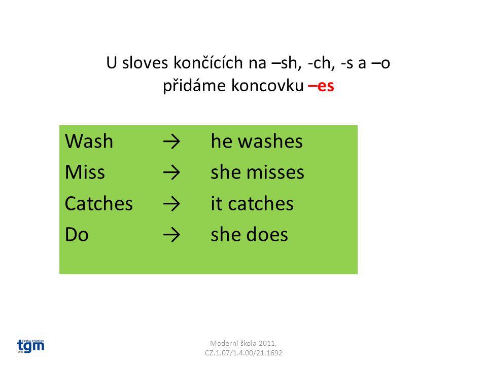 U sloves končících na –sh, -ch, -s a –o přidáme koncovku –es Wash→he washes Miss→she misses Catches→it catches Do→she does Moderní škola 2011, CZ.1.07