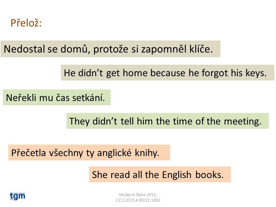 Moderní škola 2011, CZ.1.07/1.4.00/21.1692 Přelož: Nedostal se domů, protože si zapomněl klíče.
