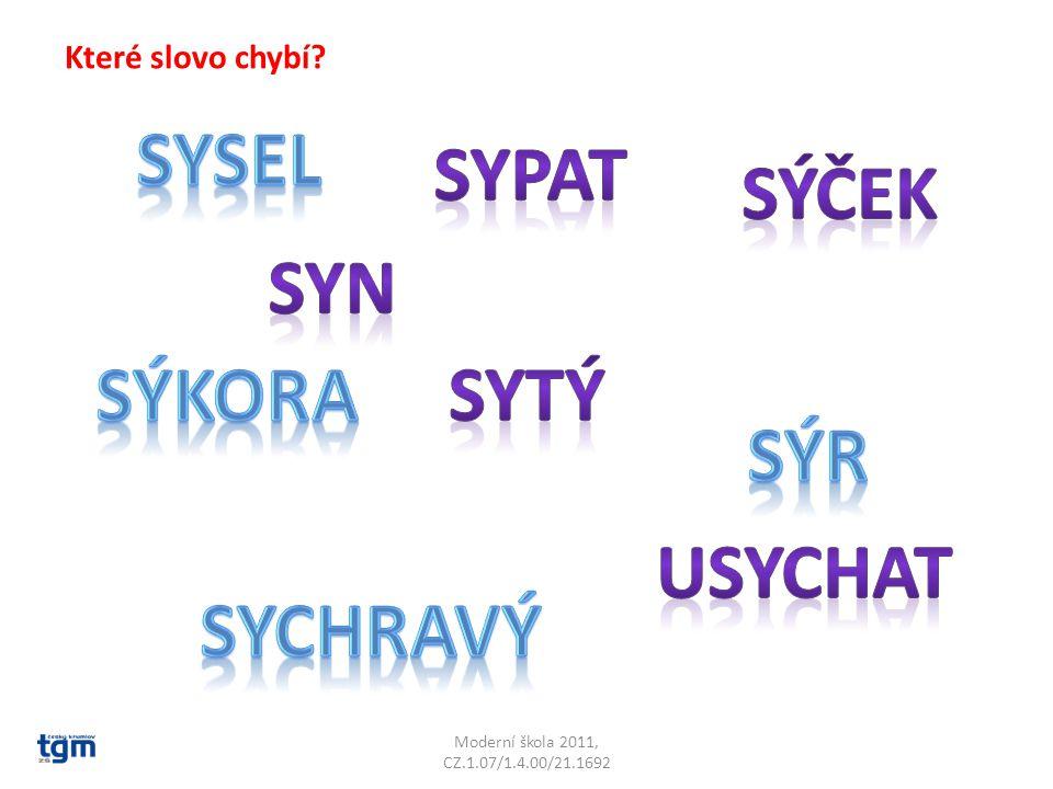 Moderní škola 2011, CZ.1.07/1.4.00/21.1692 Které slovo chybí