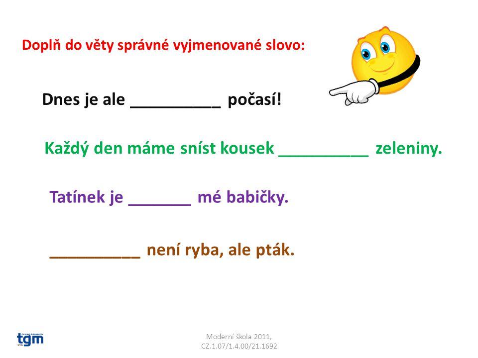 Moderní škola 2011, CZ.1.07/1.4.00/21.1692 Doplň do věty správné vyjmenované slovo: Dnes je ale __________ počasí.