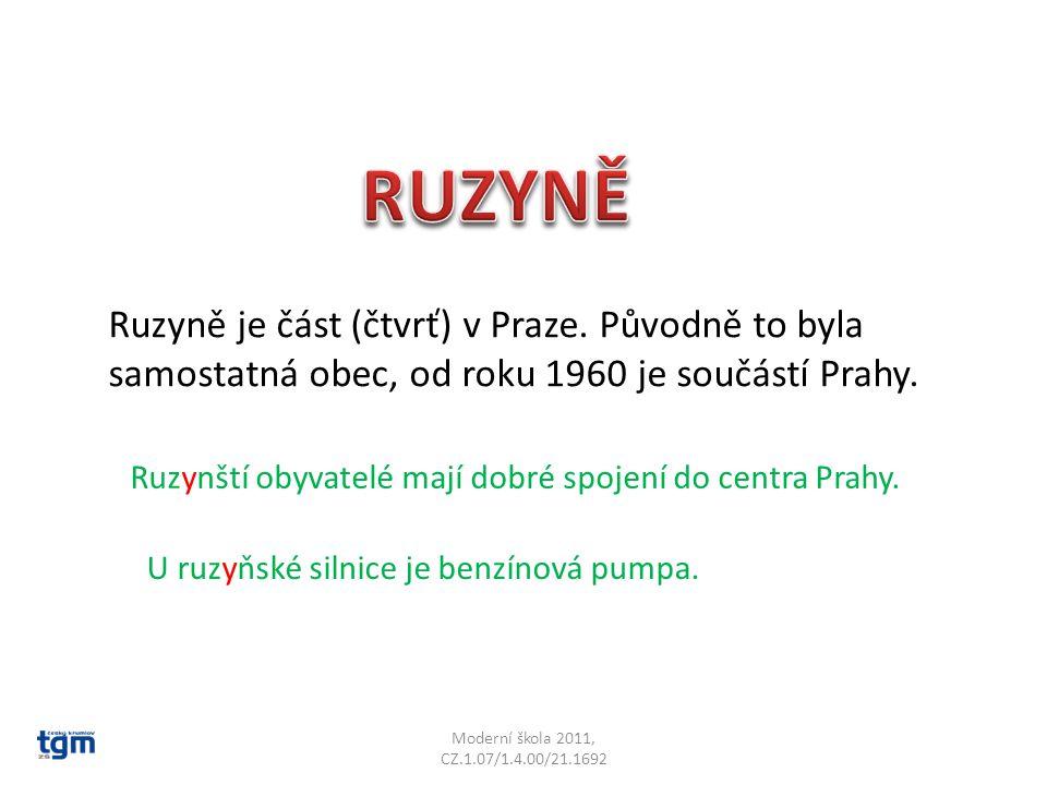 Moderní škola 2011, CZ.1.07/1.4.00/21.1692 Ruzyně je část (čtvrť) v Praze. Původně to byla samostatná obec, od roku 1960 je součástí Prahy. Ruzynští o