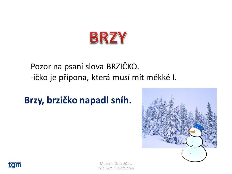 Moderní škola 2011, CZ.1.07/1.4.00/21.1692 Pozor na psaní slova BRZIČKO. -ičko je přípona, která musí mít měkké I. Brzy, brzičko napadl sníh.