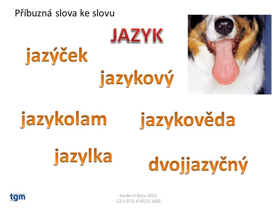 Moderní škola 2011, CZ.1.07/1.4.00/21.1692 Slovo JAZYK neznamená jen část těla, ale taky řeč: Učíme se cizí jazyky.