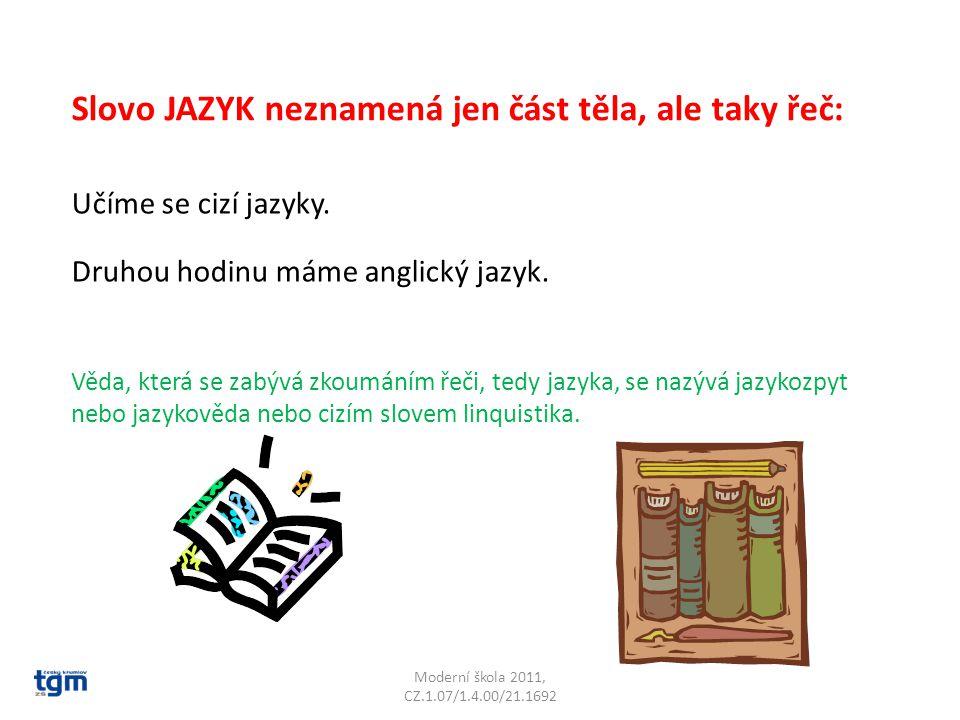 Moderní škola 2011, CZ.1.07/1.4.00/21.1692 Slovo JAZYK neznamená jen část těla, ale taky řeč: Učíme se cizí jazyky. Druhou hodinu máme anglický jazyk.