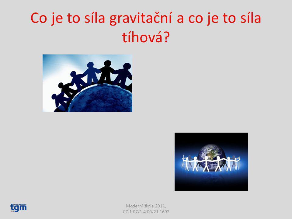 Co je to síla gravitační a co je to síla tíhová? Moderní škola 2011, CZ.1.07/1.4.00/21.1692
