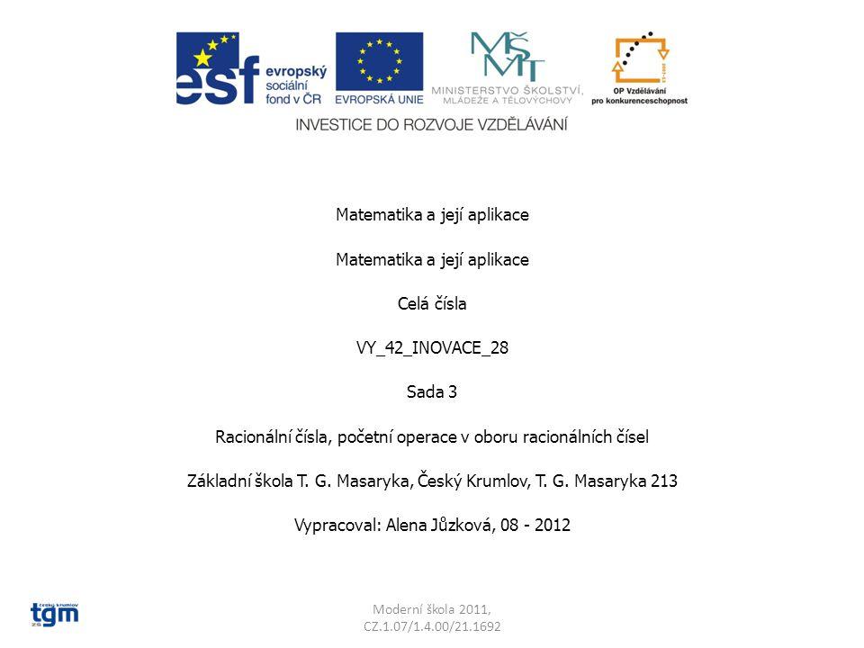 Matematika a její aplikace Celá čísla VY_42_INOVACE_28 Sada 3 Racionální čísla, početní operace v oboru racionálních čísel Základní škola T. G. Masary