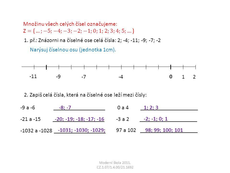 Moderní škola 2011, CZ.1.07/1.4.00/21.1692 1. př.: Znázorni na číselné ose celá čísla: 2; -4; -11; -9; -7; -2 0 1 2-4-7 -9 -11 2. Zapiš celá čísla, kt