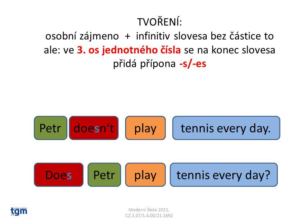 Moderní škola 2011, CZ.1.07/1.4.00/21.1692 tennis every day.playsPetrdoesn'tplay DoesPetrplaytennis every day? TVOŘENÍ: osobní zájmeno + infinitiv slo