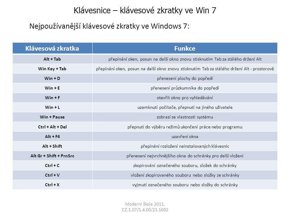 Klávesnice – klávesové zkratky ve Win 7 Nejpoužívanější klávesové zkratky ve Windows 7: Klávesová zkratkaFunkce Alt + Tabpřepínání oken, posun na dalš