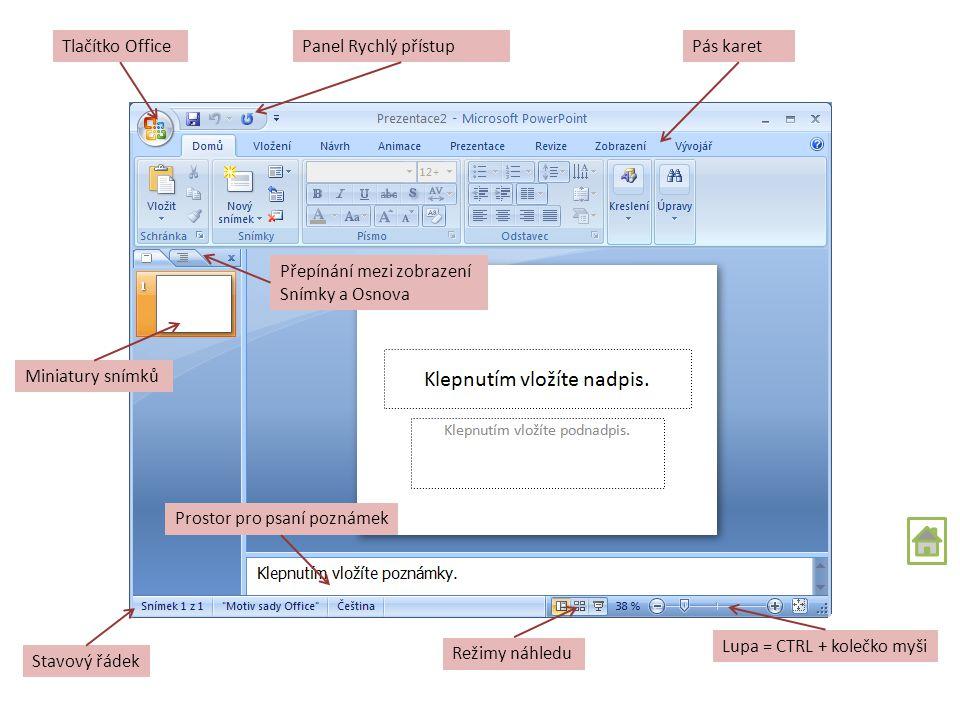Obsah Popis prostředí První prezentace Režimy zobrazení Snímky Text v prezentaci Grafika v PowerPointu Speciální externí prvky Nastavení efektů v prez
