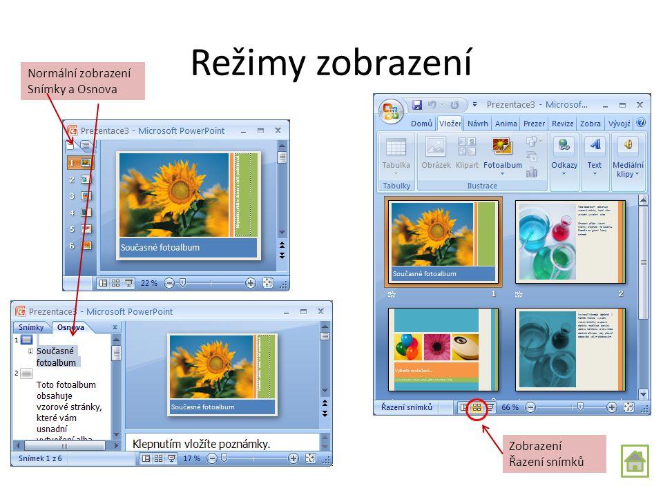 První prezentace Otevření nové prezentace: tlačítko Office – Nový – Šablony Použijeme buď Nainstalované šablony nebo šablony Online http://office.micr