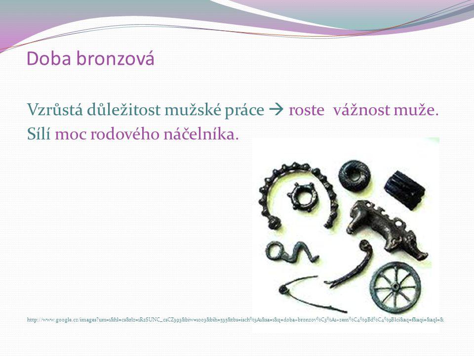 Doba bronzová Mezi řemeslníky a zemědělci vzniká SMĚNA zemědělských produktů. http://www.google.cz/images?um=1&hl=cs&rlz=1R2SUNC_csCZ393&biw=1003&bih=