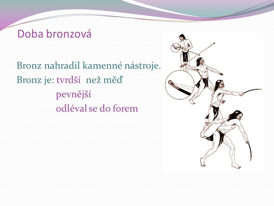 Bronz V úrodných oblastech Středozemního moře vynalezli lidé BRONZ  slitina MĚDI A CÍNU.