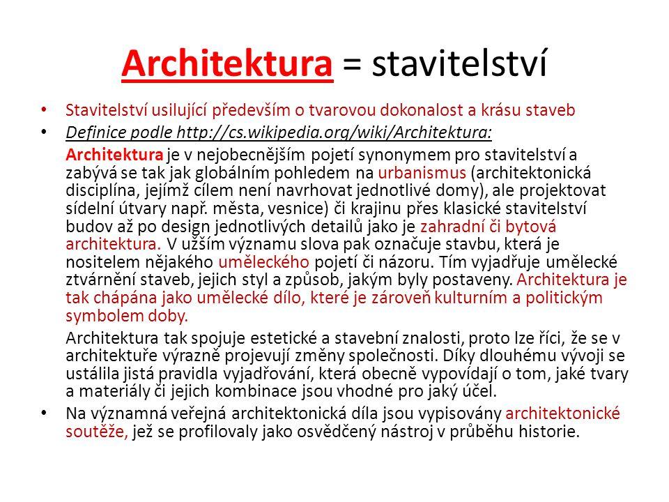 Architektura = stavitelství Stavitelství usilující především o tvarovou dokonalost a krásu staveb Definice podle http://cs.wikipedia.org/wiki/Architek