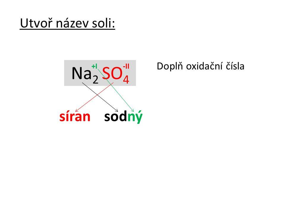 Na 2 SO 4 Utvoř název soli: Doplň oxidační čísla síran sodný -II+I