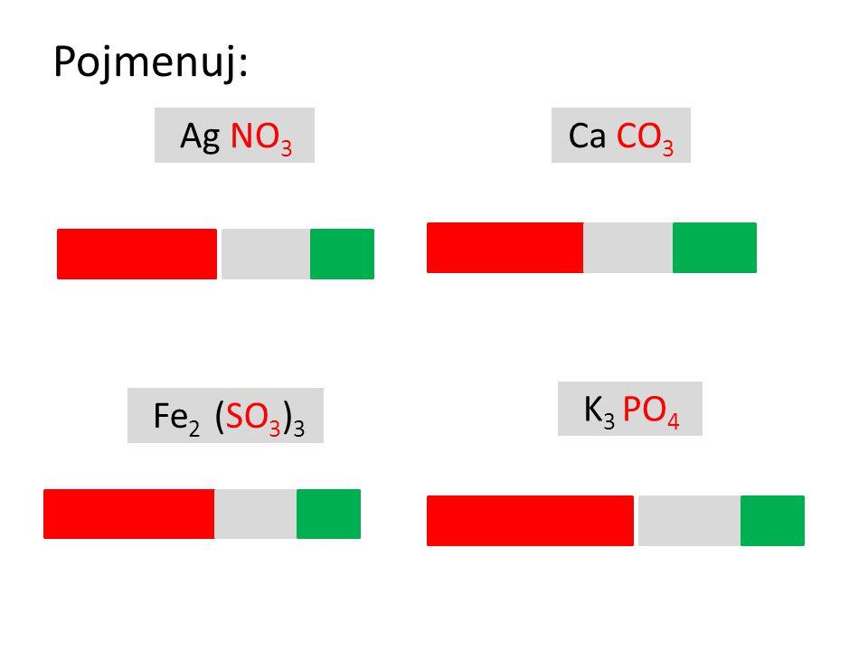 Pojmenuj: K 3 PO 4 Ag NO 3 Ca CO 3 Fe 2 (SO 3 ) 3 dusičnan uhličitan siřičitan fosforečnan stříbrný železitý vápenatý draselný