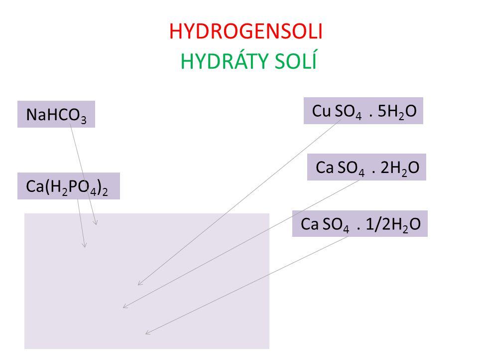 HYDROGENSOLI HYDRÁTY SOLÍ NaHCO 3 Ca(H 2 PO 4 ) 2 Cu SO 4. 5H 2 O Ca SO 4. 2H 2 O Ca SO 4. 1/2H 2 O hydrogenuhličitan sodný dihydrogenuhličitan vápena