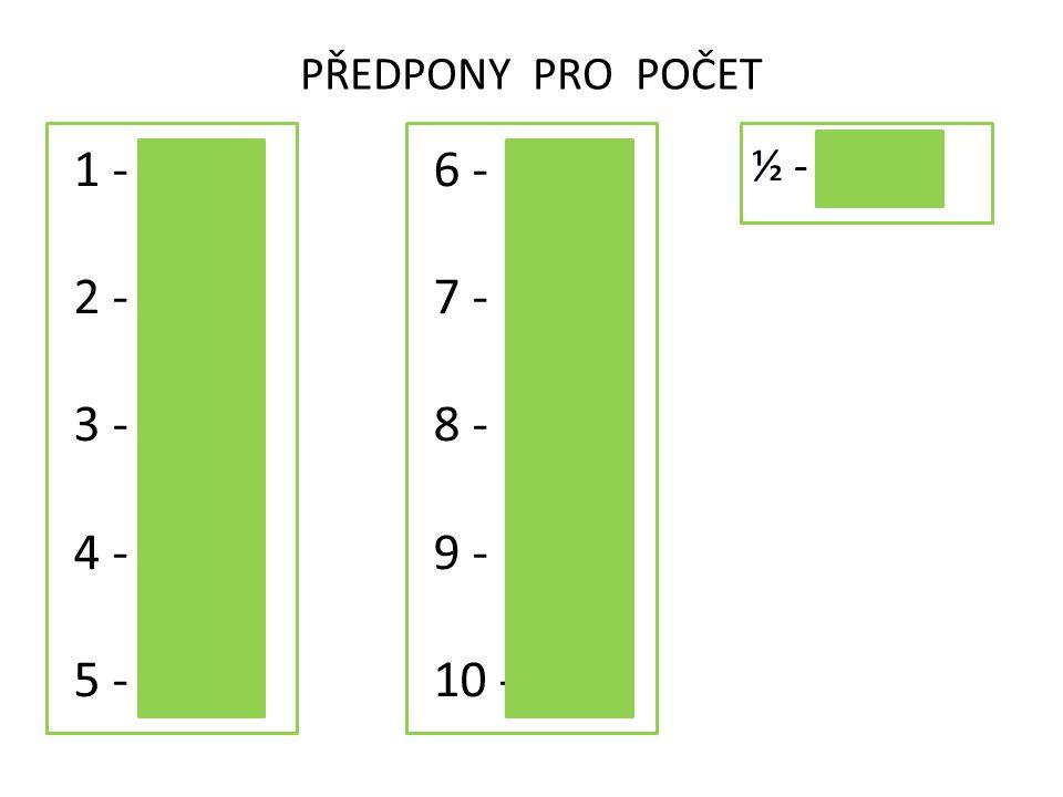 PŘEDPONY PRO POČET 1 - 2 - 3 - 4 - 5 - mono hexa tri di tetra penta 6 - 7 - 8 - 9 - 10 - hepta okta nona deka ½ - hemi