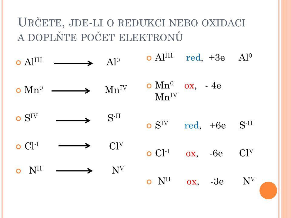 U RČETE, JDE - LI O REDUKCI NEBO OXIDACI A DOPLŇTE POČET ELEKTRONŮ Al III Al 0 Mn 0 Mn IV S IV S -II Cl -I Cl V N II N V Al III red, +3e Al 0 Mn 0 ox, - 4e Mn IV S IV red, +6e S -II Cl -I ox, -6e Cl V N II ox, -3e N V