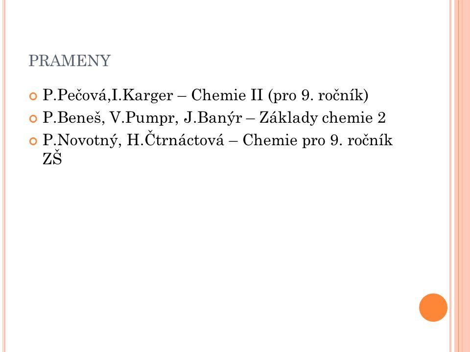 PRAMENY P.Pečová,I.Karger – Chemie II (pro 9.