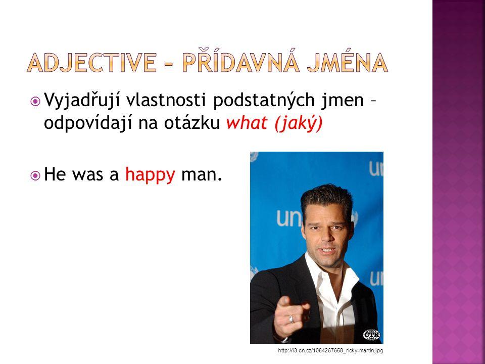 VVyjadřují vlastnosti podstatných jmen – odpovídají na otázku what (jaký) HHe was a happy man.