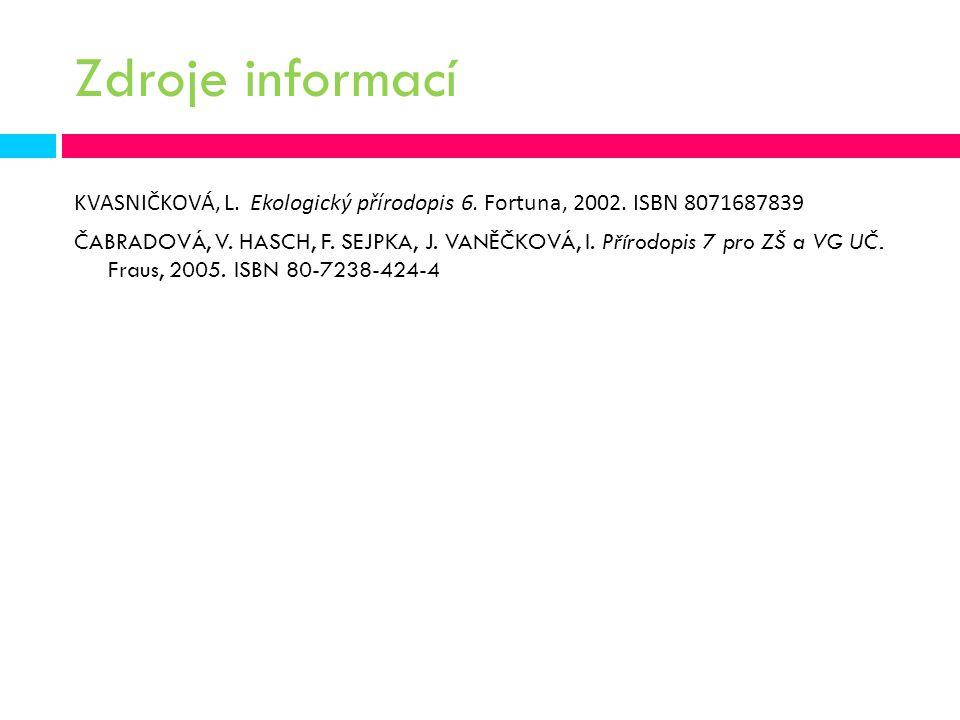 Zdroje informací KVASNIČKOVÁ, L. Ekologický přírodopis 6. Fortuna, 2002. ISBN 8071687839 ČABRADOVÁ, V. HASCH, F. SEJPKA, J. VANĚČKOVÁ, I. Přírodopis 7