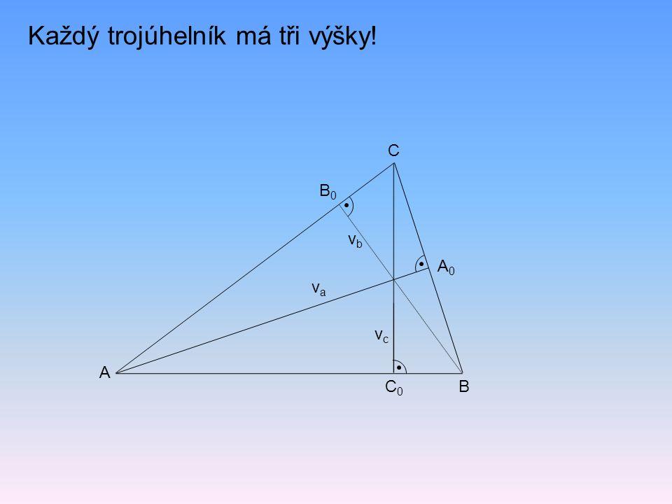 Každý trojúhelník má tři výšky! vava vcvc vbvb C0C0 A0A0 B0B0 A B C