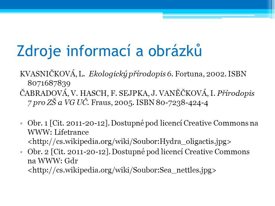 Zdroje informací a obrázků KVASNIČKOVÁ, L. Ekologický přírodopis 6. Fortuna, 2002. ISBN 8071687839 ČABRADOVÁ, V. HASCH, F. SEJPKA, J. VANĚČKOVÁ, I. Př