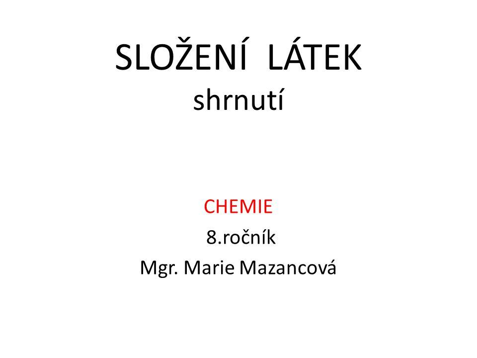 SLOŽENÍ LÁTEK shrnutí CHEMIE 8.ročník Mgr. Marie Mazancová