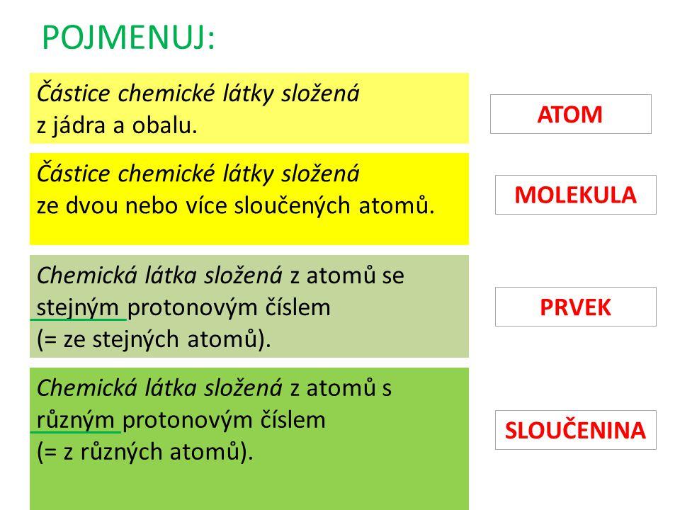 POJMENUJ: Částice chemické látky složená z jádra a obalu. Částice chemické látky složená ze dvou nebo více sloučených atomů. Chemická látka složená z