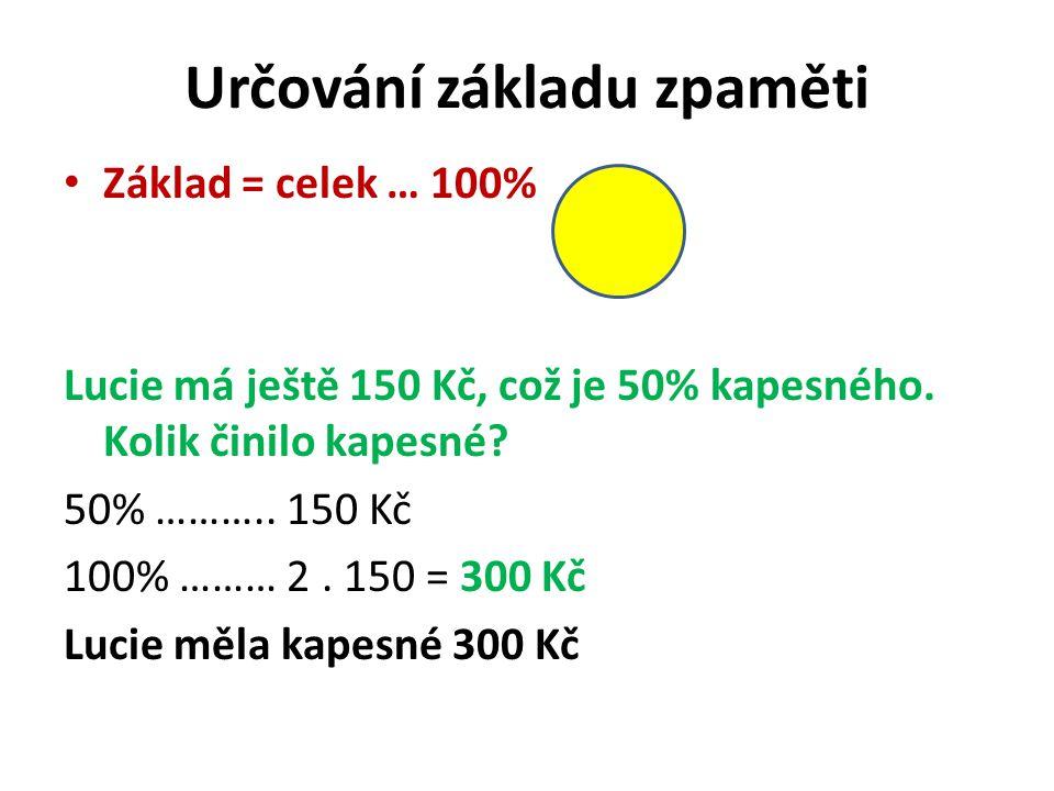 Určování základu zpaměti Základ = celek … 100% Lucie má ještě 150 Kč, což je 50% kapesného.