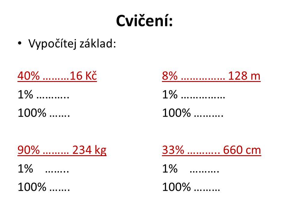 Cvičení: Vypočítej základ: 40% ………16 Kč8% …………… 128 m 1% ………..1% …………… 100% …….