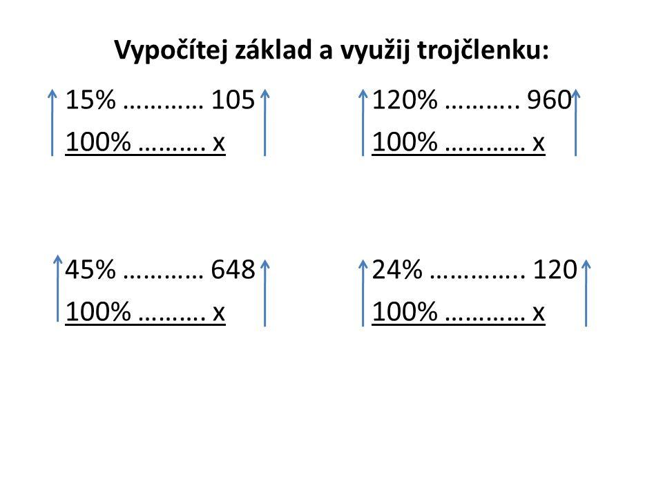 Vypočítej základ a využij trojčlenku: 15% ………… 105120% ………..