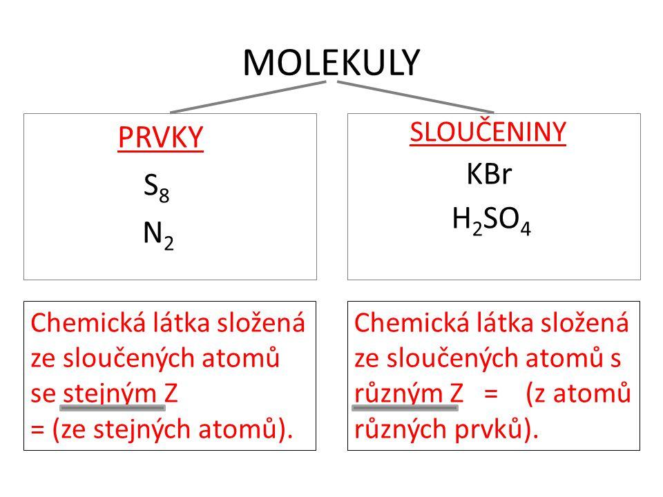 MOLEKULY PRVKY S 8 N 2 SLOUČENINY KBr H 2 SO 4 Chemická látka složená ze sloučených atomů se stejným Z = (ze stejných atomů). Chemická látka složená z