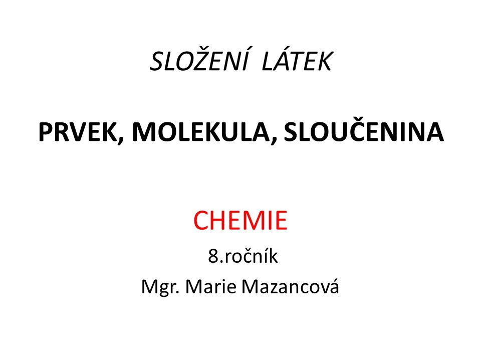 SLOŽENÍ LÁTEK PRVEK, MOLEKULA, SLOUČENINA CHEMIE 8.ročník Mgr. Marie Mazancová