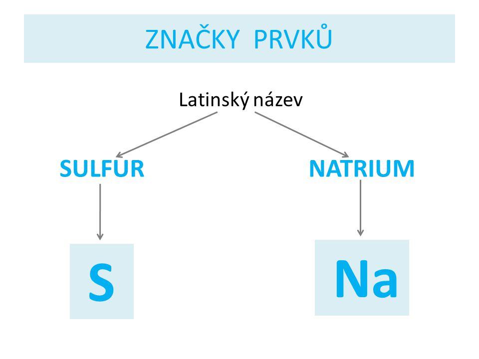 ZNAČKY PRVKŮ Latinský název SULFUR S NATRIUM Na