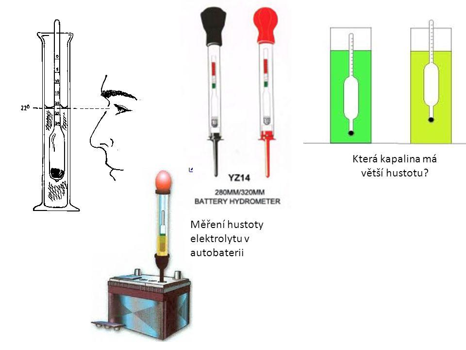 Která kapalina má větší hustotu? Měření hustoty elektrolytu v autobaterii